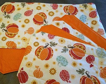 Fall Table Runner and 4 Matching Placemats