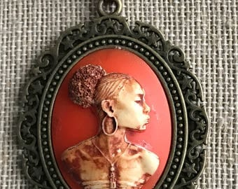 Rare Nubian Queen Cameo,African Lady Cameo,Orange Cameo,Gift for Her