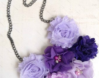 Clearance Shades of Purple Flower Bib Statement Necklace // Fashion Jewelry // Fabric Flower Style