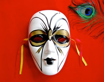 Hand-Painted Carnival Wall Mask • Vintage White Gold Black Pierrot Mardi Gras Venetian Harlequin with Ribbons