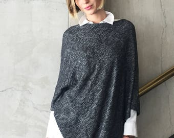 Poncho Wrap One Size / Black & White Poncho Sweater Long / Womens Spring Clothing / Women Ponchos / Lightweight and Soft / Gift Idea