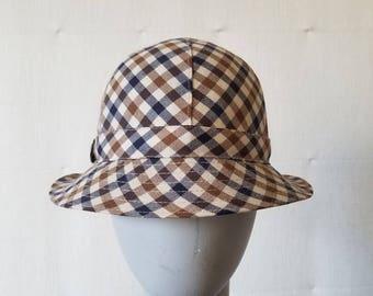Vintage Aquascutum Check Wool Bucket Hat 1970s