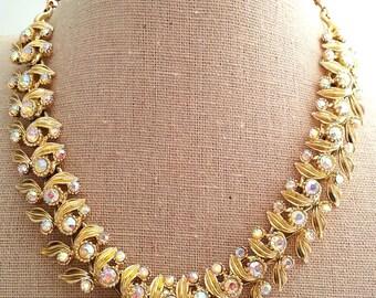 Pastel AB Aurora Borealis Rhinestone Necklace, Gold Tone Costume Jewelry Choker
