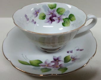 Highmount China Violets Cup & Saucer, Vintage Hand Painted Purple Flowers