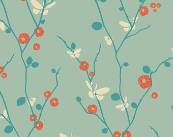 """Butterfly Fabric from Rapture by Pat Bravo from Art Gallery Fabrics """" Butterfly Bliss Aqua"""". Turquoise Aqua. 100% cotton. RPT-2703"""