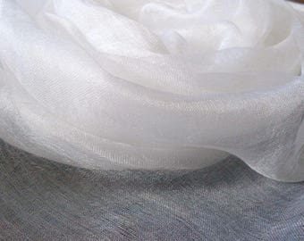 Pure 100% silk scrim margilan (made in Uzbekistan) for nunofelting. Colour white.  price for 1 meters, width 36 inch