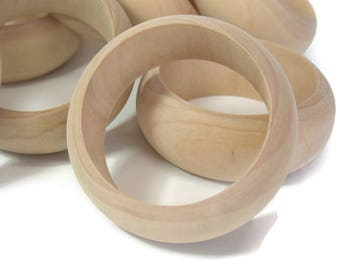 Raw Wood Bangles Dozen for Painting Decoupage Wrapping Craft Supplies Jewelry Wooden Bracelet 12 FindingMaineVintage