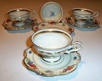 Czechoslovakia Set of 4 Demitasse Wildflower Cups & Saucers