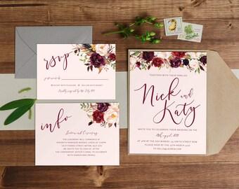 DIY Printable Watercolour Floral Wedding Invitation Main Invitation | Save the Date | RSVP | Details | Calligraphy Script | Burgundy Flowers