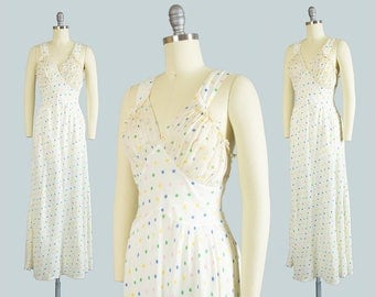 Vintage 1930s Slip | 30s Bias Cut Rayon Pastel Rainbow Polka Dot Printed Ruffled Full Nightgown (xs/small)