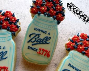 Jar with Flowers!,  One dozen (12) Custom Decorated cookies