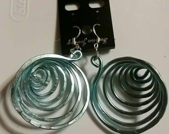 Spiral Light Blue Earrings