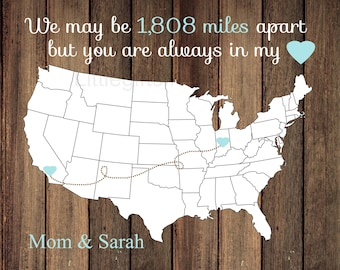 Miles Apart Always in my Heart Map- gift for mom and dad, grandma grandpa gift, map states canvas, rustic wedding gift, gift for parents
