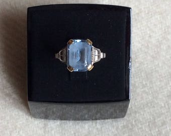 1930's French 18k white and yellow gold blue spinel ring size 4.5