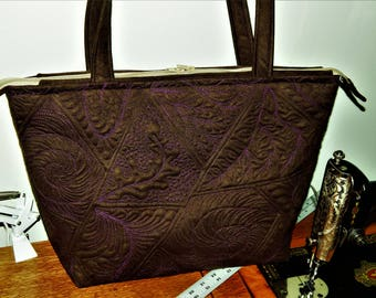 Quilted Chocolate Brown Tote