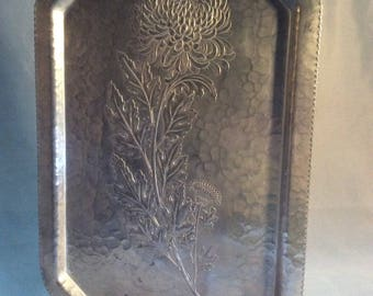 1940's Continental Silver Co Chrysanthemum Silverlook Tray 755
