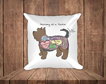 Anatomy of a Yorkie - Funny Yorkshire Terrier Dog - Square Pillow