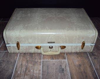 1950s Ivory White Samsonite Marble Suitcase/ 4521 Samsonite Luggage/ Wedding Card Decor/ Props/Display/ Mid Century Suitcase 21 X 13 X 8