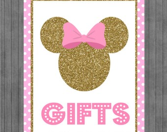 ON SALE!!  Mouse Birthday Sign, Pink and Gold, Gift sign