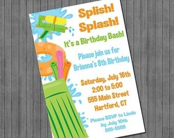 FLASH SALE Splish Splash Invitation Printable ,You Print , Digital File, Diy
