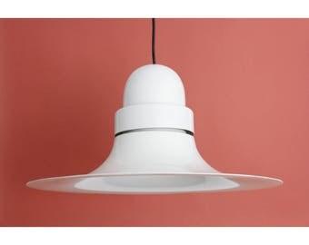 Vintage IKEA Pendant Light // Scandinavian White Metal Hanging Lamp // Trumpet Ceiling Light