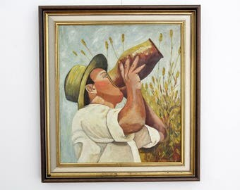 Vintage painting // 1970's 52cmx47cm framed portrait of a young man drinking from a pot // Fine art mail portrait