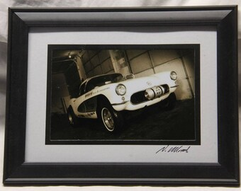 Framed 5x7 inch photo of a 1959 Corvette gasser hot rod