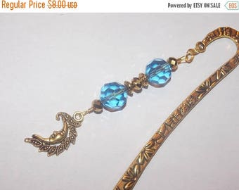 15%OFF Blue Glass and Gold Crystal Golden Moon Golden Bookmark