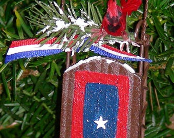 Veteran Flag Ornament with Cardinal and sled - Free Shipping