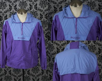 Columbia Pullover windbreaker, Purple and Blue - Girls 18/20 - Vintage 90s - Taiwan