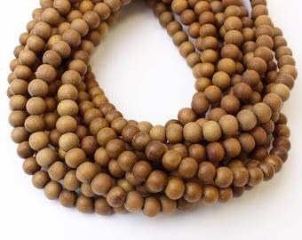 10mm Sandalwood Natural Matte Unpolished Wood Beads 16 inch Strand, 54 Beads Mala Beads for Mala Necklaces