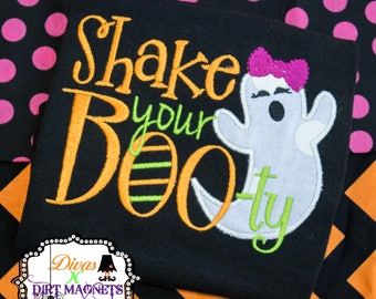 Shake Your BOOty Halloween Ghost Embroidered Shirt, Halloween Embroidered Shirt, Ghost Embroidered Shirt, Shake Your Booty