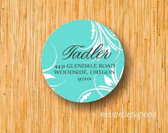 Personalized return address calligraphy label/stickers floral/printable labels