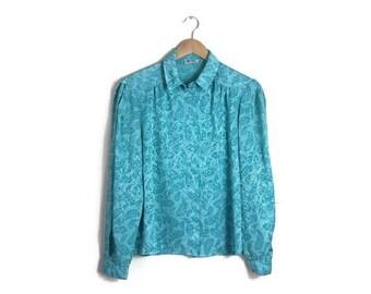 Vintage 80s blouse / aqua green blouse / boxy retro blouse / 80s woeking girl / retro blouse / green silky blouse / vintage work shirt / 80s