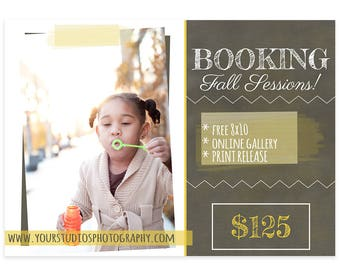 ON SALE Photography Marketing Board, Back to School Minis, Fall Mini Sessions, Photoshop template, Autumn Minis, For Photographers, m150
