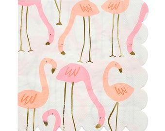Pink Flamingo Party Napkins (Set of 16) Meri Meri Large Paper Napkins | Baby Shower, Wedding Shower, Birthday Party