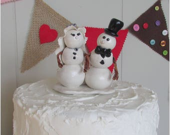 Snowman Bride & Groom Wedding Cake Topper, Winter Wedding Cake Topper, Winter Wedding, Snow Wedding, Winter White and Silver Wedding, Snow