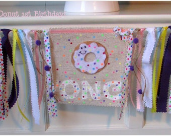 Donut Highchair Banner, Donut First Birthday Banner, Donut Party Decorations, Sprinkles High Chair Banner, Donut Banner, Donut Birthday