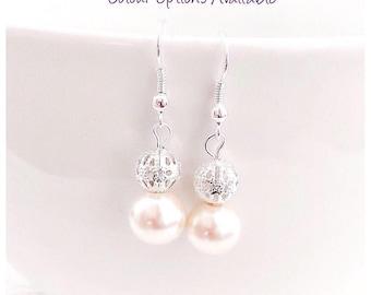 Pearl Earrings, Ivory Pearl Earrings, Pearl Jewelry, Bridesmaid Earrings, Bridesmaid Gift, Clip on earrings, Wedding