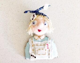 Wool felted needle felted Alice in Wonderland brooch