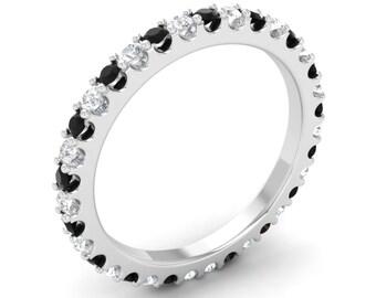 Black Diamond Wedding Ring | Natural Black Diamond With SI Diamond | Black Diamond Anniversary Ring | 14K Gold Black Diamond | Diamond Ring
