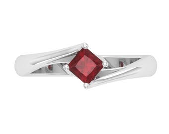 Ruby Solitaire Engagement Ring In 14K White Gold | Natural Ruby Engagement Ring | Ruby Princess Cut Women's Ring | Certified AAA Ruby Ring