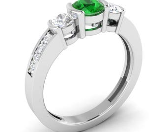 AAA Emerald Ring, 14K White Gold, Rose Gold, Emerald Engagement Ring, Anniversary Gift, Wedding Ring, Emerald Gold Ring, Three Stone Ring