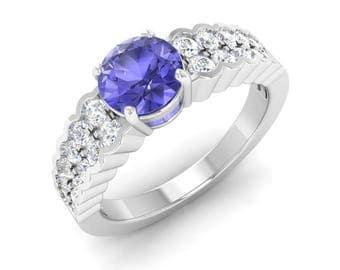 Natural AAA Tanzanite Ring | Tanzanite Engagement Ring With Diamond | Tanzanite 14K Gold | Diamond Engagement Ring | Gift For Women | Ring