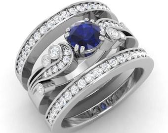 Blue Sapphire Engagement Ring, Diamond Bridal Set, Vintage Inspired, 14K Gold Ring, Diamond Wedding Ring, Unique Sapphire Bridal Ring Set