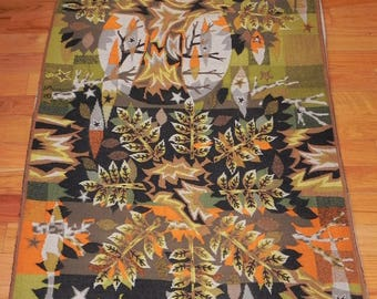 """Modern Art Tapestry Jean Claude Bissery Geometric Rug - 77.5"""" x 43"""" Signed"""