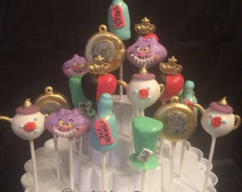24 Alice in Wonderland NEW DESIGNS! Cake pops Assortment, Cheshire Cat, Mad Hatter, Tea Party, Drink me