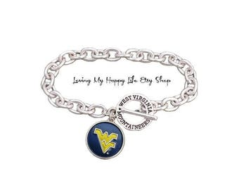 West VIRGINIA, Mountaineers, CHARM, BRACELET, Cable Chain, with University Name, and Athletics Team Name Toggle Clasp, buy 2 get 1 free