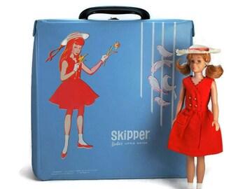 Vintage Skipper Doll Case, Barbie's Little Sister, Blue Vinyl Skipper Doll Case, 1964 Mattel, Doll Collectibles