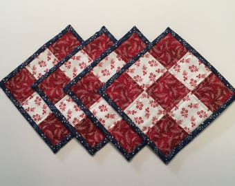 Quilted Mug Rugs, mug rugs, quilted coasters, coasters, fabric coasters